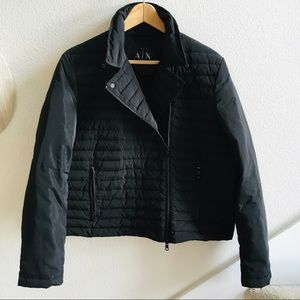ARMANI EXCHANGE quilted Moto down coat L puffer
